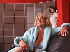 Red-hot mature platinum-blonde gets her mounds seized by red-hot young black-haired