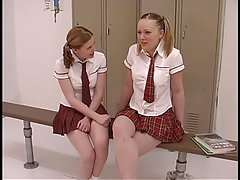 2 teenage bitches in student uniforms get their crank on in the locker