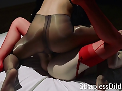 Strap dildo hookup with a cum-shot at the end