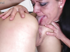 Inked doll smashes old girl-on-girl bitch