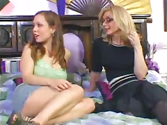 Nina Hartley Plows Kaylee With Strap dildo