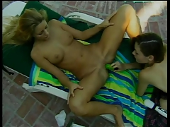 Super-cute girl-on-girl  gobble each other's moist cunt then faux-cock fuck by the pool