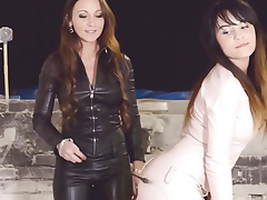 2 torrid chicks  all in leather female dominance lesbian three-way