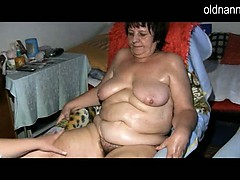 Plus-size granny and youthfull damsel masturbating together