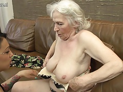 granny getting tongued by youthful doll