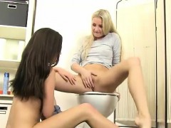 Cayla and Subil Bend slurping vag for mouth-watering pee