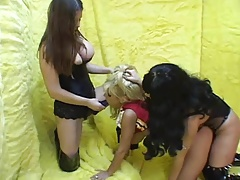 Strap-on Double penetration for Ash-blonde Cheerleader