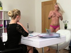 Lesbos oral and strap on action in audition