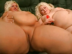 2 Ample Fat  Lesbos enjoy kissing, blowing their pussies-1