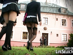 Brash college girls in four-way girly-girl