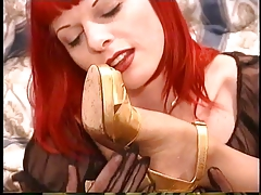 Redhead lezzie with nipple piercings eliminates pantyhose & deep throats  of punk breezy