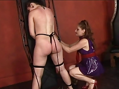 Super-fucking-hot youthfull lesbo restricts her victim nymph and whips and  her rump