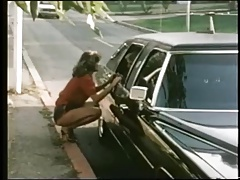 Nymph hitchhiker gets limo rail