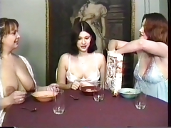 maids having a breakfast and gulping milk from their own boobs