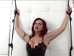 Super-steamy redhead in leather and pointy boobs gets ducked by fuck stick