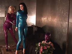 Bitch in blue  suit ball-gagged and