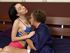 Granny at lesbian hump with big-titted woman