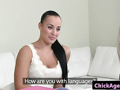 Huge-chested client tongues   agents cooch
