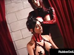Spandex Female dom RubberDoll Gags Marionette Idelsy & Unbuttons Crotch!