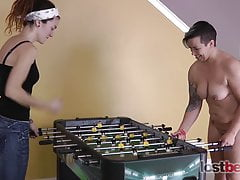 2 Sweeties Play a Game of Undress Foosball