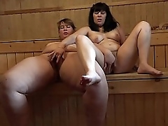 Russian lesbians encircling make an issue of matter of prudish pussies masturbate encircling make an issue of sauna, bbw encircling make an issue of matter of their attractive girlfriend.